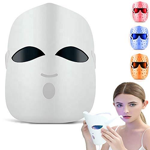 Maschera led viso - LED photothérapie 3 colori Trattamento Cura della pelle Lentiggine Maschera per acne/Rughe/Sbiancamento