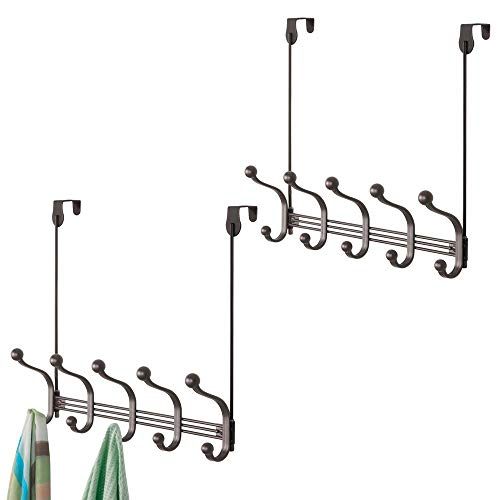 mDesign Decorative Over Door or Wall Mount 10 Hook Metal Storage Organizer Rack for Coats, Hoodies, Hats, Scarves, Purses, Leashes, Bath Towels & Robes - 2 Pack - Bronze