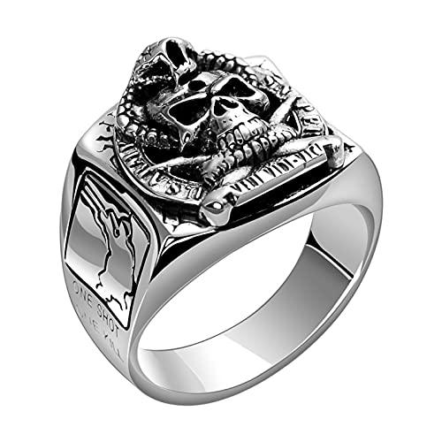 Anillo de calavera de plata de ley 925 para hombre, anillos de calavera de motorista punk, anillo de cabeza de calavera de demonio, anillo de motorista de Halloween de Hip Hop, joyería de calavera,18