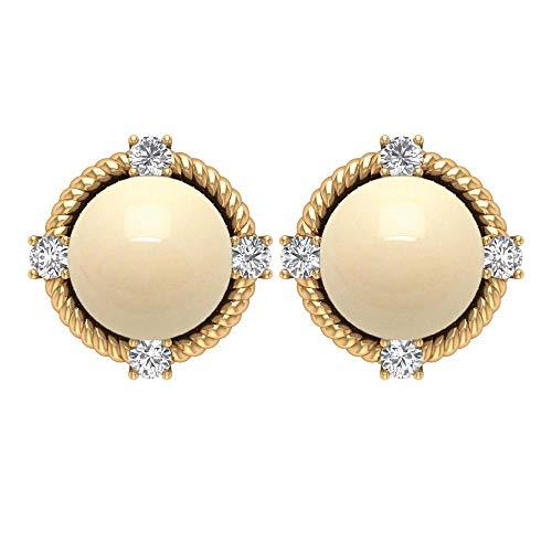 Pendientes de tuerca de perlas cultivadas japonesas de 5 quilates, con diamantes redondos, en espiral de oro marfil