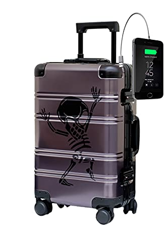Maleta de Cabina de Aluminio Puro Equipaje de Mano 55x35x20 Maleta Trolley de Viaje Aceptado en Cabina Maleta de Diseño Rígida TOKYOTO Luggage (MONEYHEIST Skull, Maleta Y Cargador)