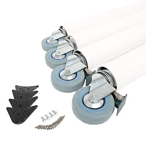 4er Set Tischbeine 710mm ø 60mm auf Rollen mit Bremsen verschiedene Farben (Weiß)