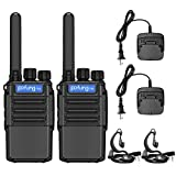 Pofung F8X Walkie Talkies Long Range for Adults with Earpieces,16 FRS Channel VOX Hands Free Rechargeable Two Way Radios with Micro USB Charging Ports and Flashlight(2 Pack)