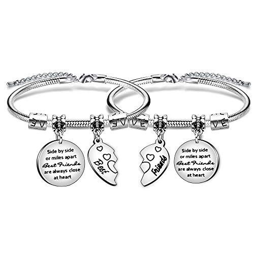 "Angelra Bester Freund Geschenk Armband""Side by Side or Miles Apart Best Friend are Always Close at Heart"" Armbander Geburtstags Freundschaft Geschenk BFF"