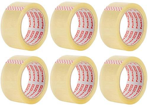 Packatape 6 Rollos Cinta Embalar Adhesiva Transparente 48MMx 66M para Cajas y Paquetes Ideal para Envíos y Mudanzas – Precinto Embalar Extrafuerte y Resistente – Color Transparente