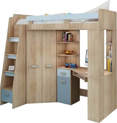 Hochbett/Etagenbett/Entresole – alle in einer links Ablesen Treppen – Kinder Möbel Set. Bett, Kleiderschrank, Regal, Schreibtisch Sonoma Oak - Sky Blue