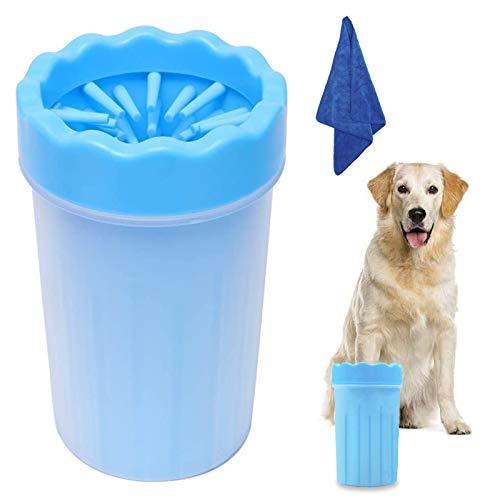 WELLXUNK Haustier Pfotenreiniger,Pfotenreiniger aus Silikon,Tragbarer Hunde Pfote Reiniger mit Handtuch für Hunde Katzen Massage Pflege Schmutzige Klauen (Blau M)
