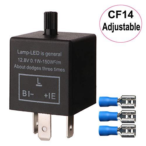 Gebildet 12V 3 Pin Relé Intermitente Ajustable para Señales de Giro LED, CF-14KT Interruptor Intermitente 12,8V 0,1W-150W, para el Indicador de Señal Luz Intermitente, Viene con 3pcs Terminales