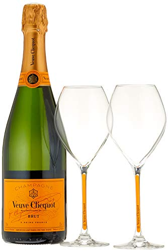 Veuve Clicquot Champagne Brut Yellow Label mit Geschenkverpackung und 2 Gläser (1 x 0.75 l)