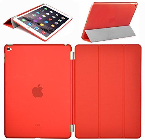 Swees® Apple iPad Air 2 Smart Cover & TPU Back Hülle Cover Hülle Schutzhülle Etui Tasche für das neue iPad Air 2 2014 (6. Generation), Unterstützt Sleep / Wake Funktion - Rot