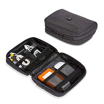 SWISSGEAR Cord Organizer Case   Travel Tech Wire Case   Water Resistant   Zipper Closure – Grey Heather