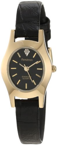Armitron Women's 25/6198 Diamond Accented Dial Gold-Tone Black Leather Dress Watch