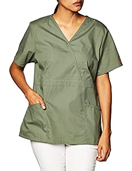Dickies Women s EDS Signature Mock Wrap Top with Multiple Instrument Loop Olive XXX-Large