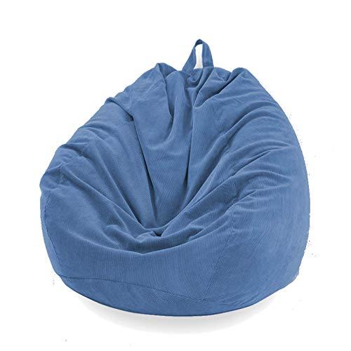 Funda Puff Pera SIN Relleno Cubierta de Sillón Sofá Perezoso Silla de Puf Tumbona Funda de Pana para Puf Bolsa de Frijol Bean Bag para Adultos y Niños Accesorio de Hogar para Muebles (Azul, L)