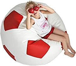 Comfy Red & White Football Pvc Leather Bean Bag-large