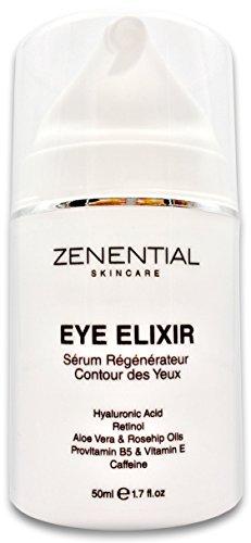 Eye Elixir: Contorno de Ojos para Ojeras, Arrugas y Bolsas | 50 ml | con Ácido Hialurónico, Retinol, Aloe Vera, Rosa Mosqueta, Provitamina B5 y Vit. E | NO IRRITA LOS OJOS, Vegano