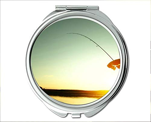 Yanteng Spiegel, Reisespiegel, Koi-Fisch-Thema des Taschenspiegels, tragbarer Spiegel 1 X 2X Vergrößerung