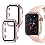 Oududianzi - Hülle kompatibel mit Apple Watch Series 3 / Series 2/Series 1 mit Panzerglas Bildschirmschutz, 360° Vollschutz Superdünne PC Hardcase für iwatch Series 3/2/1 38mm (2Stück,Roségold)