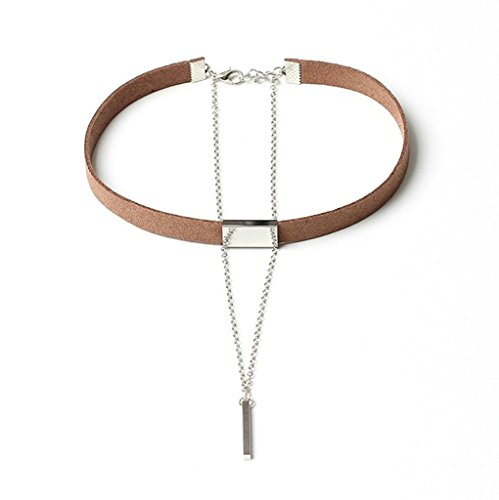 Bishilin Samt Choker Damen Halskette Halsband Zylinder Anhänger Braun Silber Tattoo Choker Halskette Length 78+7CM