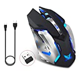 ZERODATE X70 Wireless Gaming Mouse, 2.4GHZ Rechargeable Wireless Computer Game Mice Built in with 600mAh Battery(Black)