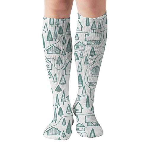 Hand Drawn Houses Green Forest Map Compression Socks For Women And Men - Best Medical,For Running, Athletic, Varicose Veins, Travel 19.68 Inch