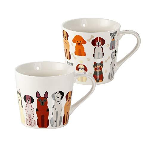 Mugs, Tasses à Café, Ensemble de 2 Motifs Chiens, Grande Céramique Porcelaine Blanche, Cadeau Amoureux des Animaux