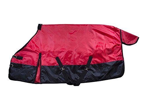 Derby Originals 600D Medium Weight Mini Horse and Pony Turnout Blankets with Warranty - Designed with Waterproof Ripstop Nylon -Medium Weight 200g Polyfil, Red, 42'