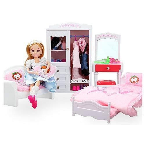 Uiophjkl DIY Haus Toy Doll Dream House Schlafzimmer Prinzessin Möbel mit Schlafsofa Schrank Schminktisch für Barbie Puppen Kleidung Zubehör DIY Holzspielzeug