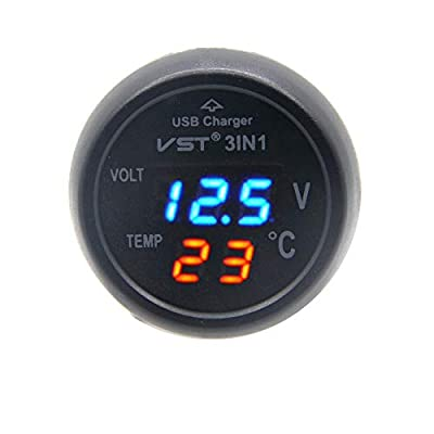 RKURCK 12V-24V 3in1 Universal Cigarette Lighter Car USB Port Charger Digital LED Display Voltmeter Thermometer Auto Gauge Battery Voltage Tester Temperature Monitor Meter