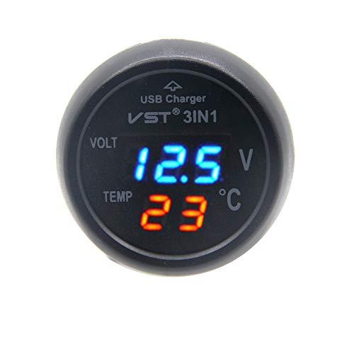 RKURCK - Cargador USB con voltímetro y termómetro para la