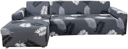 SearchI Funda para sofá con chaise longue elástica chaise longue, funda para sofá esquinero antideslizante, funda protectora para sofá en forma de L, 2 plazas + 2 plazas estampado universal negro