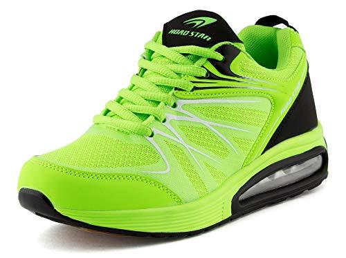 Fusskleidung Damen Herren Sportschuhe Sneaker Dämpfung Laufschuhe Neon Jogging Gym Unisex Grün Schwarz EU 45