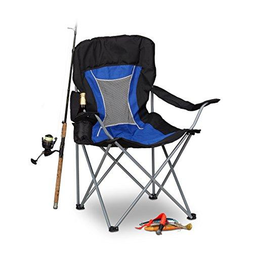 Relaxdays Campingstuhl faltbar mit Lehne, Faltstuhl klappbar für Festival, Anglerstuhl HxBxT: 100x90x56 cm, blau-schwarz