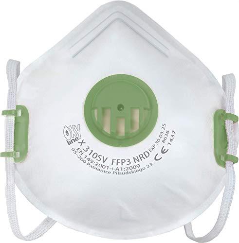 Oxyline X 310 SV FFP3 NRD Atemschutzmaske Halbmaske Staubmaske Atemmaske infektionssichere Schutzmaske mit Ventil - 10 Stück