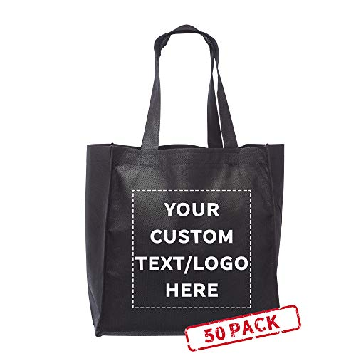 Grocery Tote Bags - 50 pack - Customizable Text, Logo - Non-woven Cloth Washable Shopping Totes - Made of Strong Polypropylene - Black