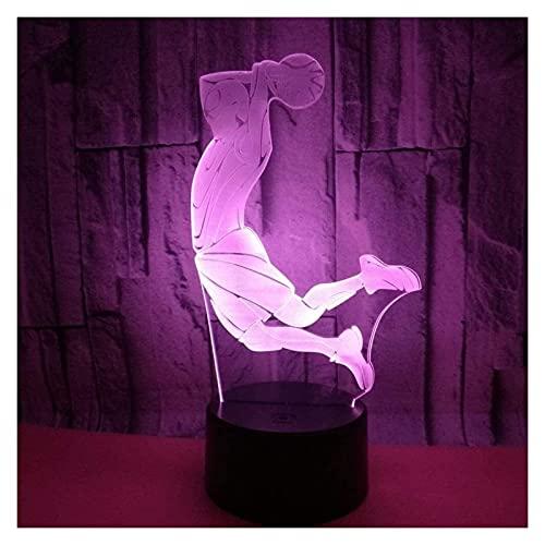 REOOHOUSE Lámpara de Mesa Colorido Gradiente LED 3D Estereoscópico Tiro Remoto USB Lámpara de Noche Lado de la Cama Creativo Decorativo Escritorio Cumpleaños Jugador de Baloncesto 2013cm