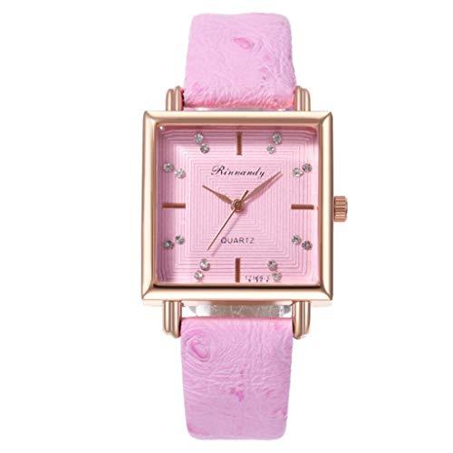 Uhr Armbanduhren Männer Damenuhren Hansee Surface Digitaluhr Ladies Platz Kreative Sekundenzeiger Quarzuhr Watch Uhren Herrenuhr(Rosa)