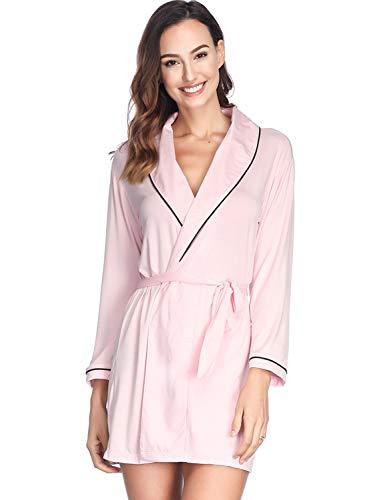 Damen Morgenmantel Baumwolle Sommer Bademantel Kurz Saunamantel Sommer Nachtwäsche Kimono Schlafanzüge, PINK
