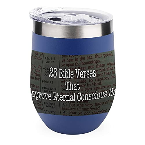 Taza aislada de acero inoxidable 304, diseño artístico de la Biblia disprove el infierno para interiores y exteriores, 12 onzas
