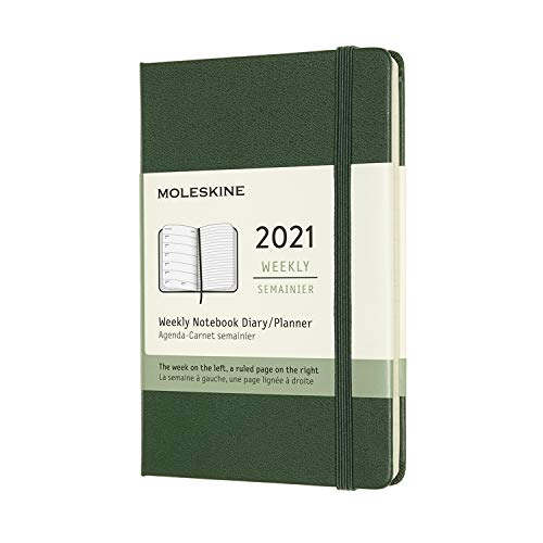 Moleskine Wochenkalender 2021, 12 Monate Wochenplaner, Wochenkalender und Notizbuch, fester Einband, Format Pocket 9 x 14 cm, Farbe myrtengrün, 144 Seiten