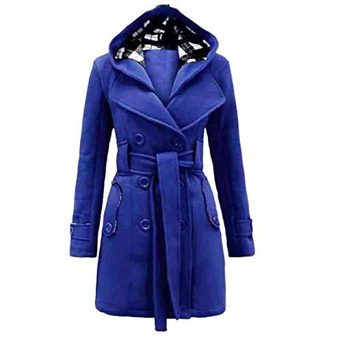 Auifor Damen stylischer Herbst Winter Mantel Jacke Kapuze Winterjacke,Taschen ausgestellten Rock windjacken Wintermantel mit gürtel (F-Blau,XX-Large)