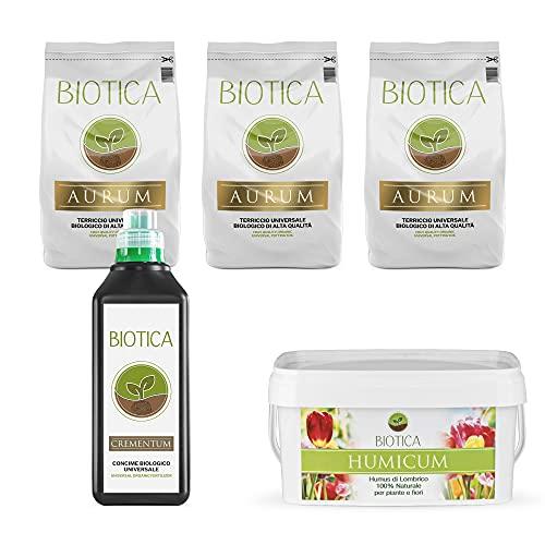 BIOTICA BOX - Kit per giardinaggio, contiene Terriccio naturale di alta qualità, Concime biologico universale, Humus di Lombrico 100% naturale - Disponibile in più formati (MEDIUM)