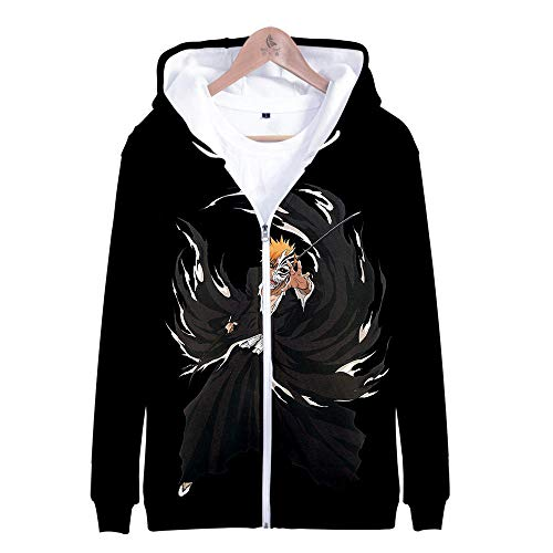Kapuzenpullover,Anime Ichimaru Gin Serie Reißverschluss Kapuzenpulli Herren 3D Outdoor Sweatshirt Mode Kapuze Jacke Teenager Freizeit Unisex Outwear Black 3XL
