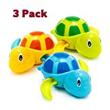HEMRLY Baby Bath Toys,Baby Bathtub Wind Up Turtle Toys, Cute Fun Multi Colors Floating Bath Animal Toys for Kids Toddlers, Child Pool, Swimming Clockwork Water Toys for Boys and Girls-[3 Pcs]