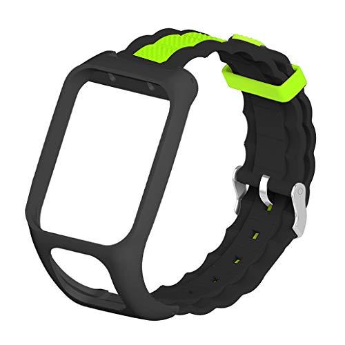 Xiaoyao24 Correa de silicona suave transpirable en dos tonos compatible con Tomtom- Adventurer/Runner 2 3/Spark 3 Sport Watch pulsera accesorios