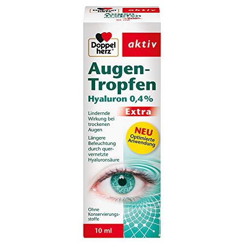 Doppelherz Augen-Tropfen Hyaluron 0,4% – Feuchtigkeitsspendende Augentropfen mit lindernder Wirkung bei trockenen und gereizten Augen – 10 ml sterile Lösung