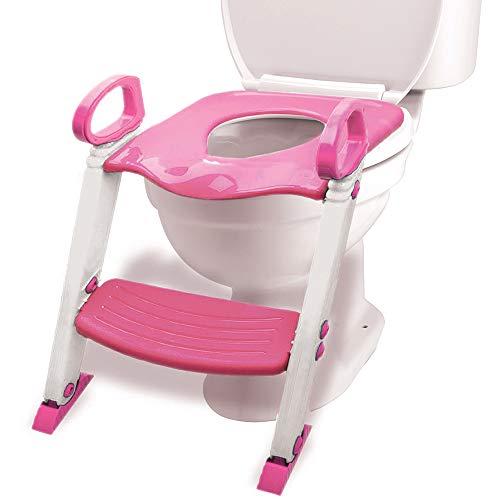 Potty Training Seat Toilet w/Step Stool Ladder & Splash Guard, Kids Toddlers Trainer w/Handles. Sturdy & Foldable. Non-Slip Steps & Anti Slip Pads. Adjustable Potty Chair - Boys Girls Baby (Pink)