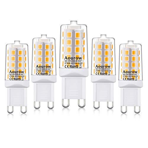 G9 LED-Lamp,Warm wit 2700K,4W 450 Lumen(Vervanging voor 28W 33W 40W G9 Halogeenlampen),Niet Dimbaar, Verpakking van 5