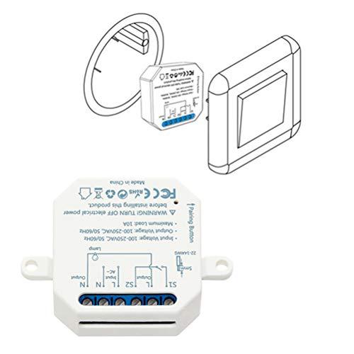 LoraTap – Interruptor de wifi para Alexa, inalámbrico, conmutador, Receptor de 2500 W y 10 A, interruptor inteligente, control a distancia por teléfono, relé compatible con Google Home
