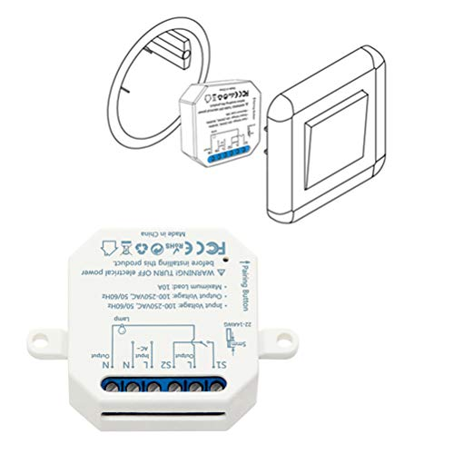 LoraTap Interruttore WiFi Alexa, Smart Timer Switch Funziona in Parallelo con Interruttore a Parete Originale, Compatibile con Alexa Echo e Google Home, Ricevitore a Relè 2500W